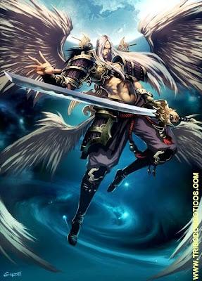 anjo ou demoniocom asas e espada para lucifer