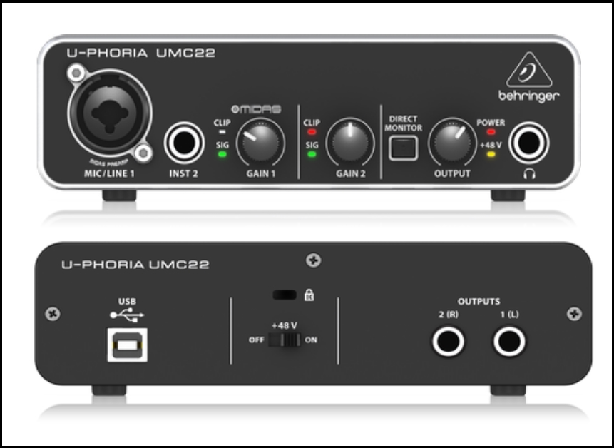 behringer-umc22-uphoria-usb-audio-interface-back-and-front-side