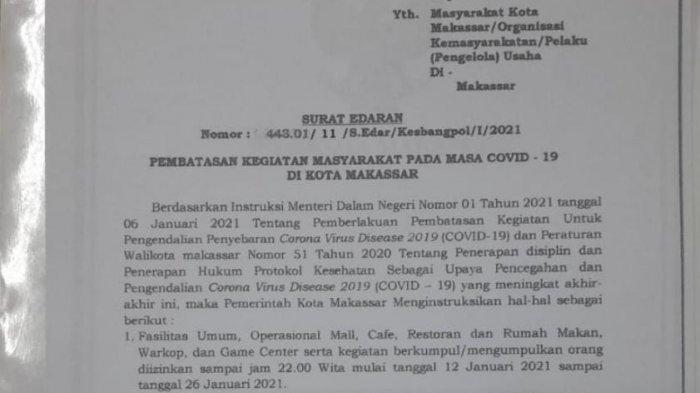 Pemkot Makassar, Perbolehkan Jam Malam, Mall, Cafe, Warkop, Terang Bulan, Buka Sampai Jam 22.00