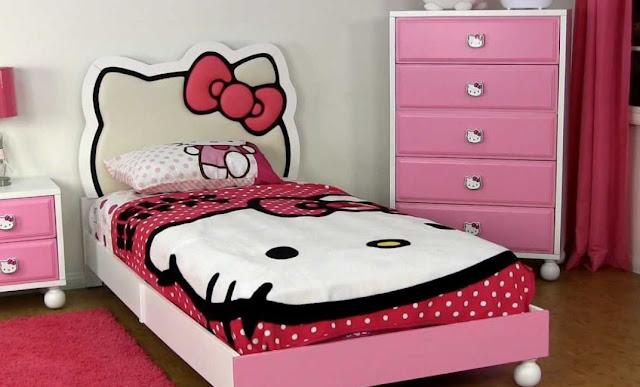 Gambar Kamar Tidur Hello Kitty Ranjang Anak Perempuan Pink Lemari Baju Lucu