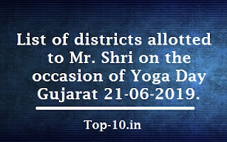 List of districts allotted to Mr. Shri on the occasion of Yoga Day Gujarat 21-06-2019.