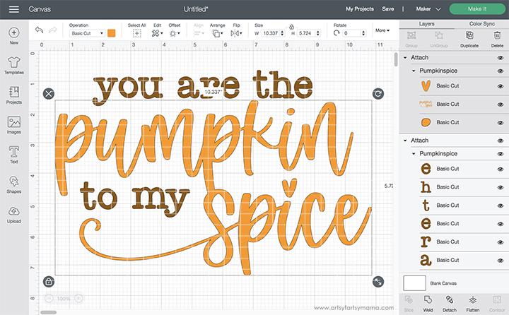 """You are the Pumpkin to My Spice"" SVG Cut File in Cricut Design Space"