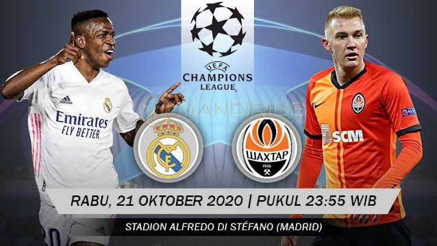 Prediksi Real Madrid Vs Shakhtar Donetsk, Rabu 21 Oktober 2020 Pukul 23.55 WIB @ SCTV