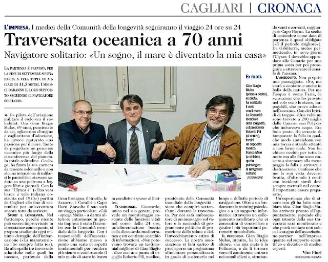 Gian Biagio Mulas, traversata oceanica a 70 anni