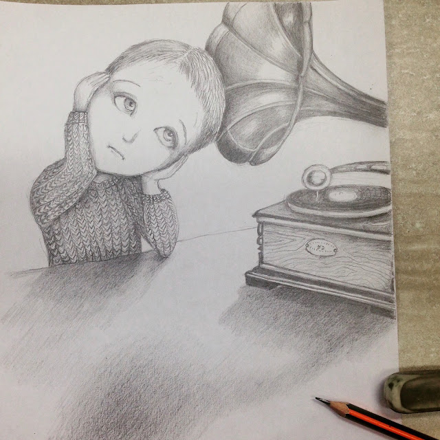 #AideLL #gramophone #musicofsilence #pencildrawing #childrensillustration