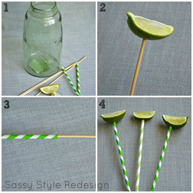 How to make a lime pick for a flower arrangement by sassystyleredesign.com