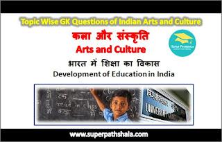 भारत में शिक्षा का विकास GK Questions Set 1