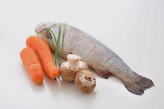 Stuffed Rainbow Trout with Glazed Carrot Shreds and Chestnut Mushrooms ~ Simple Food