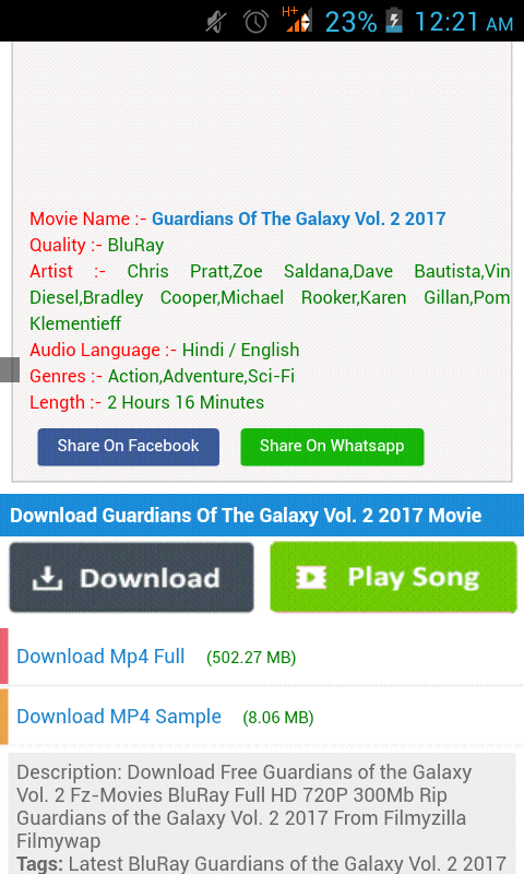 guardians of the galaxy 2 free download filmywap