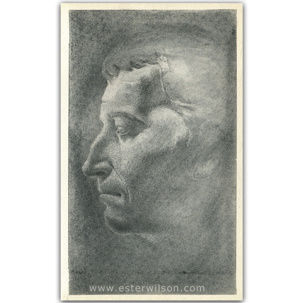 Pencil drawing of a Roman sculpture