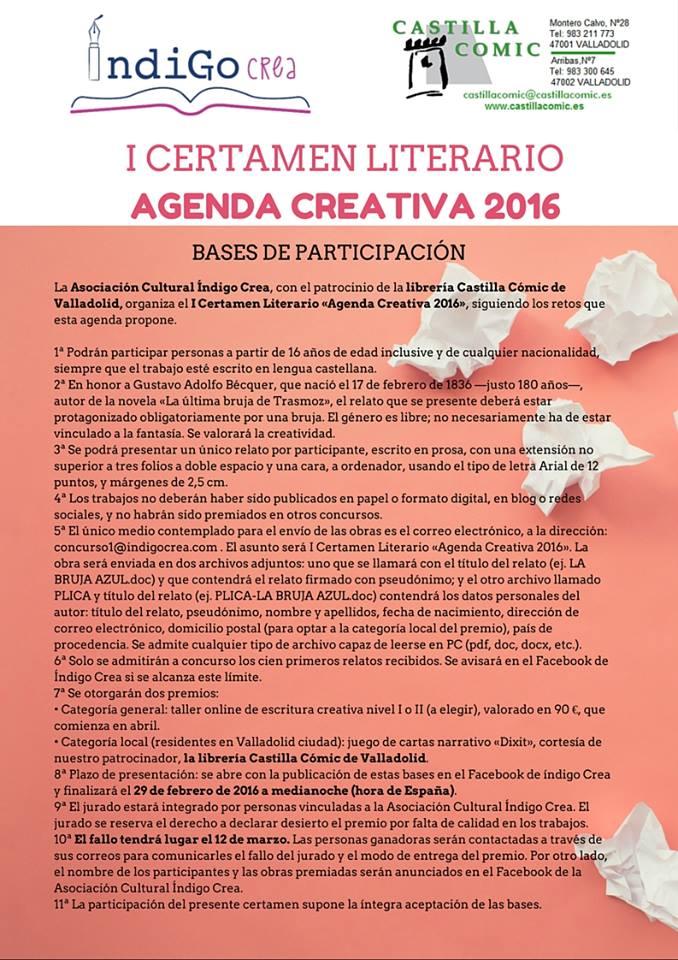 I Certamen literario Agenda Creativa 2016