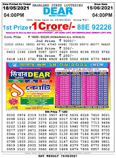Nagaland State Lottery Result Today Evening 4pm 15.06.2021