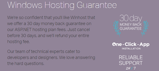 guarantee. WinHost. 30 day money back guarantee