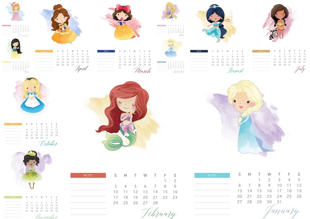 graphic regarding Disney Printable Calendar identified as Disney Princess 2019 Free of charge Printable Calendar. - Oh My Fiesta