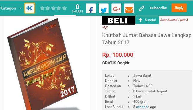 Interusaha: Beli Buku Khutbah Bahasa Jawa via Toko Online Terpercaya
