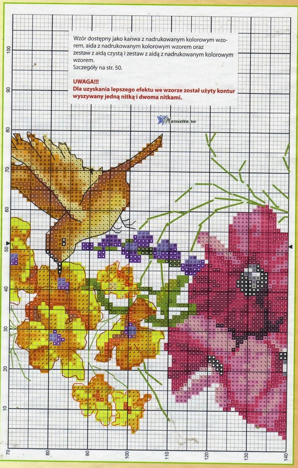 Летний букет цветов с птичкой. Схемы вышивки (4)
