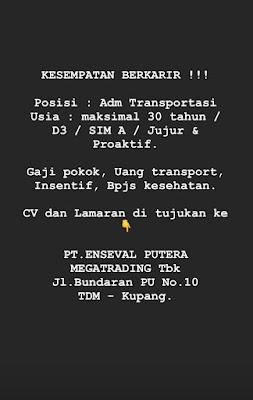 Loker Kupang di PT Enseval Putera Megatrading Sebagai Admin Transportasi