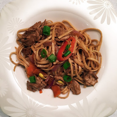 Takeout Fakeout: Vegetable Lo Mein with Veggie Protein and Brown Sauce Stir-Fry