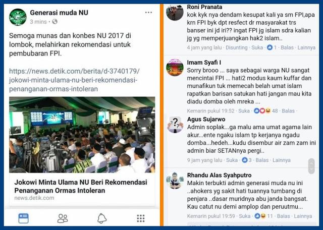 Malu Sendiri! Akun Fb Generasi Muda NU Ingin FPI Dibubarkan, Serentak Netizen Menyerbu