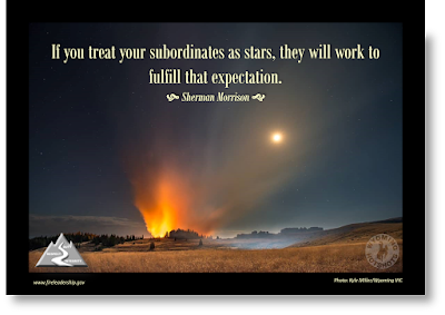 If you treat your subordinates as stars, they will work to fulfill that expectation. - Sherman Morrison (nighttime sky with wildfire)