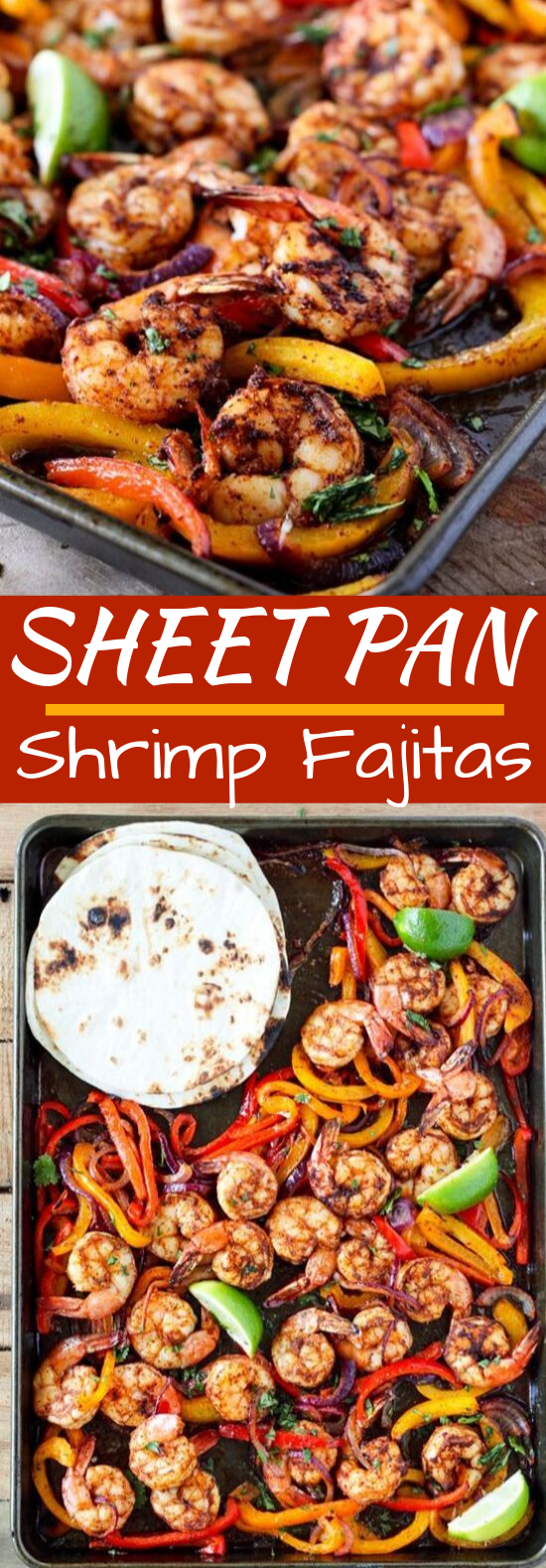 Sheet Pan Shrimp Fajitas #shrimp #dinner