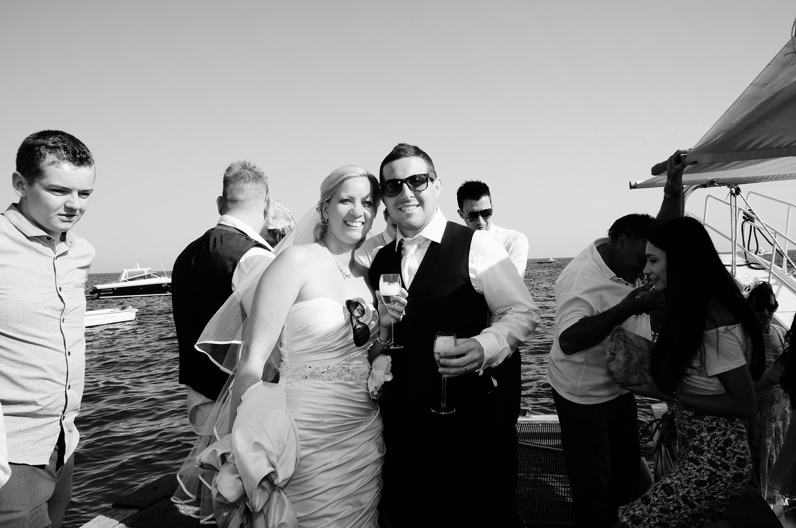 Champagne toast at wedding in Nerano