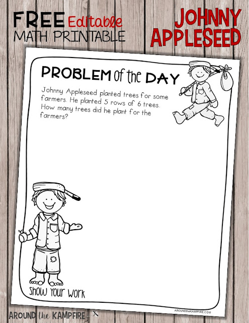 Free editable math printable. Add your own apple themed problem of the day!