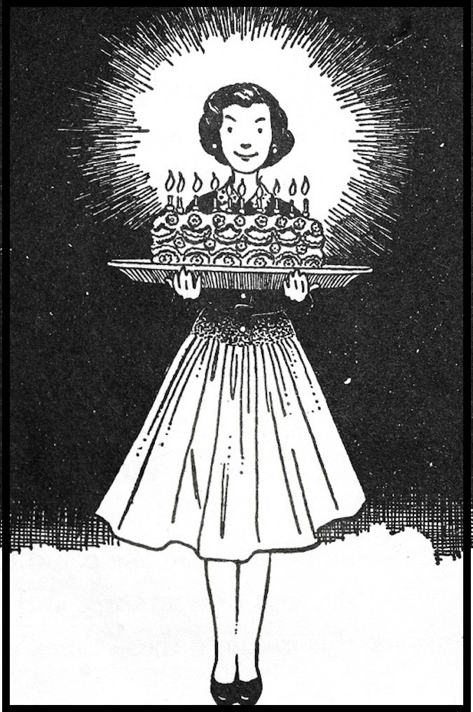 Illustrations of Beverly Cleary's books featuring sisters Ramona and Beezus by Louis Darling. Beezus' birthday cake