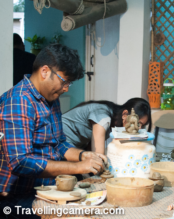 Vivek creating plate of ladoos for the Ganesh he has made, which you can see in front of him in above photograph.
