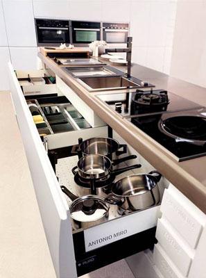Cajones anchos para guardar ollas y sartenes y mantener el orden en la cocina