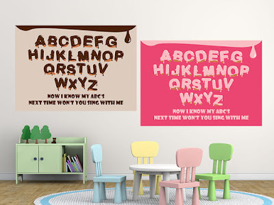 Mama Love Print Printable - A to Z 英文字母早教掛牆圖朱古力色和粉紅色 Alphabet Poster Chocolate and Pink Free Download Freebies Printables