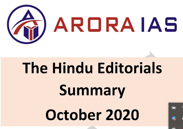 Arora IAS The Hindu Editorial Summary (October 2020) : For UPSC Exam PDF Book