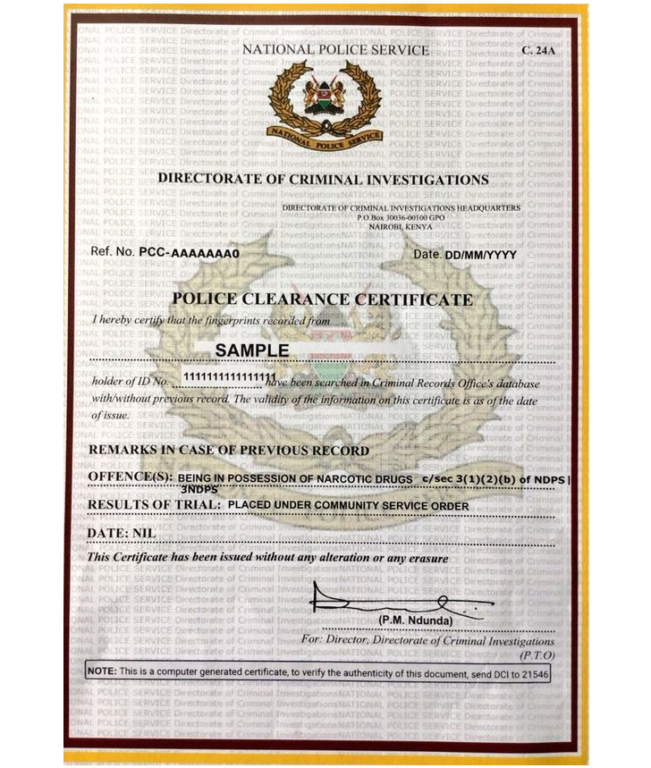 Sample Certificate of Good Conduct in Kenya and how to apply online through ecitizen portal for Kenyans and Foreigners