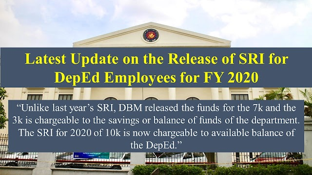 Update of the release of SRI for DepEd employees