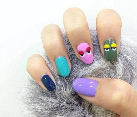 colored, Reindeer Nail Art, for girls
