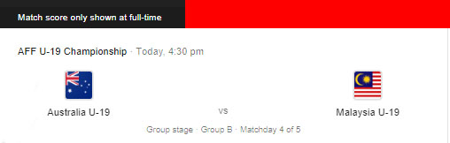 Live Streaming Australia vs Malaysia 13.8.2019 (AFF U18)