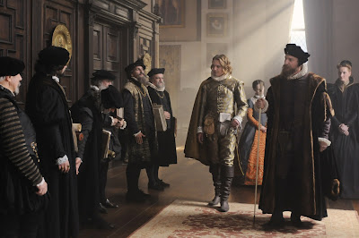 William Cecil (played by David Thewlis) introduces young Edward de Vere (played by Jamie Campbell Bower) to his new teachers at the Cecil House, Directed by Roland Emmerich