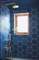 Geometric bathroom tiles