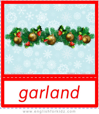 garland, Christmas flashcards for ESL students