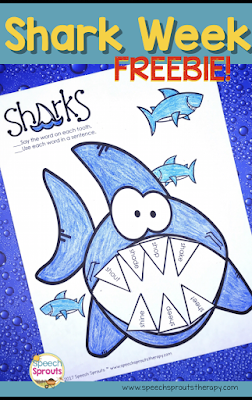 14 terrific speech and language activities for Shark Week in preschool speech therapy including this free no-prep shark craftivity  www.speechsproutstherapy.com #speechtherapy #preschool #kindergarten