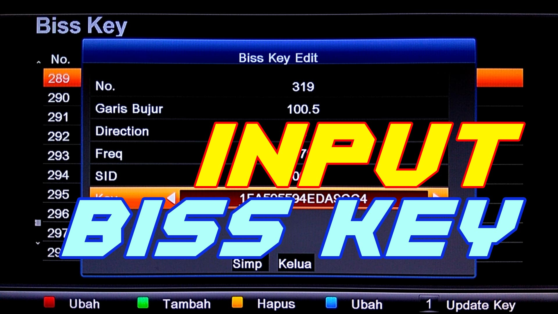 Cara memasukan kode biss key di receiver lgsat 101 stars