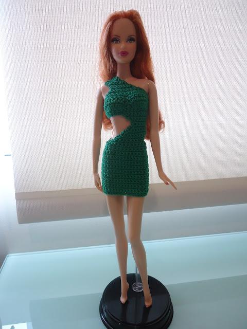 Fashion Doll Crochet Clothes Barbie One Shoulder Cut Out