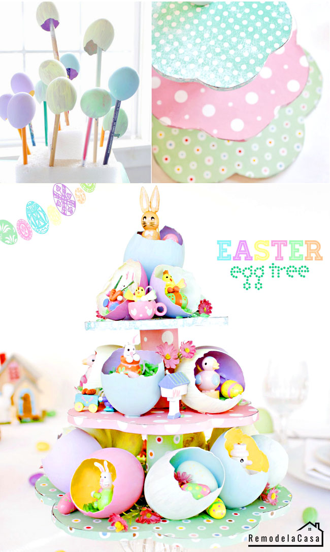 real egg shells painted and mounted on a cake stand and fill with little wooden rabbits, birds, chicks and penguin figures