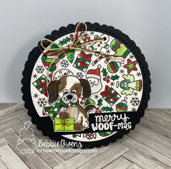 Merry Woof-mas by Debbie features Christmas Puppies, Circle Frames, and Christmas Roundabout by Newton's Nook Designs; #newtonsnook, #christmas, #cardmaking