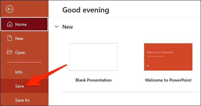 """انقر فوق """"ملف> حفظ"""" في PowerPoint."""