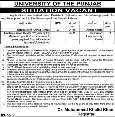 University Of The Punjab PU Jobs in Lahore 2019