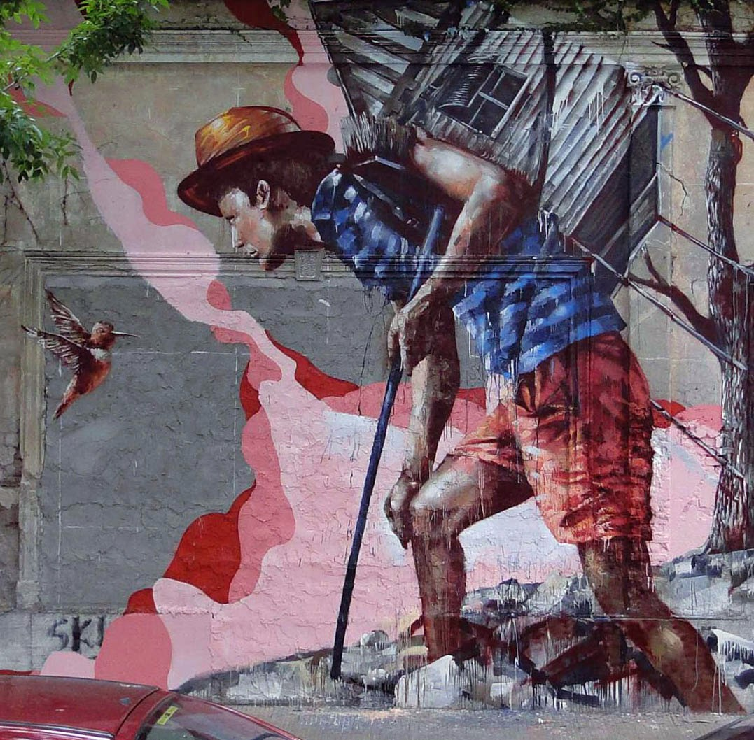 """Homeward Bound"" New Street Art Piece by Fintan Magee in the city of Buenos Aires in Argentina.4"