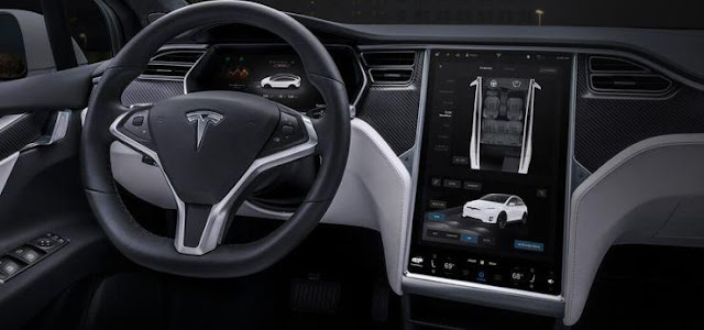 Tesla Model X interior display with 17 inch main screen