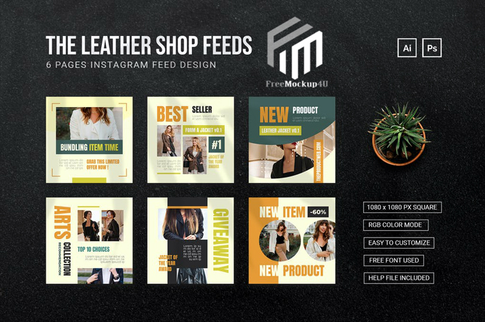 Leather Jacket Instagram Post Ai and Psd Templates