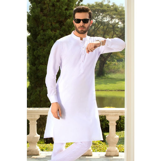 Gul Ahmed chairman latha Men's collection pure white cotton